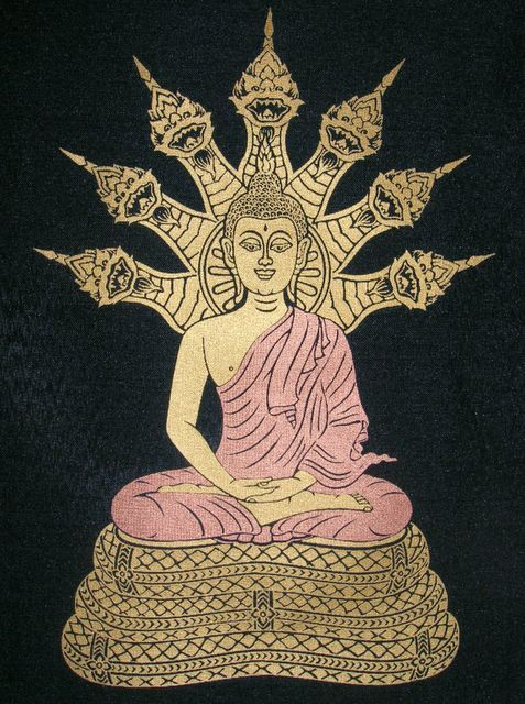 The Buddha protected by Mucalinda, King of the Nagas.