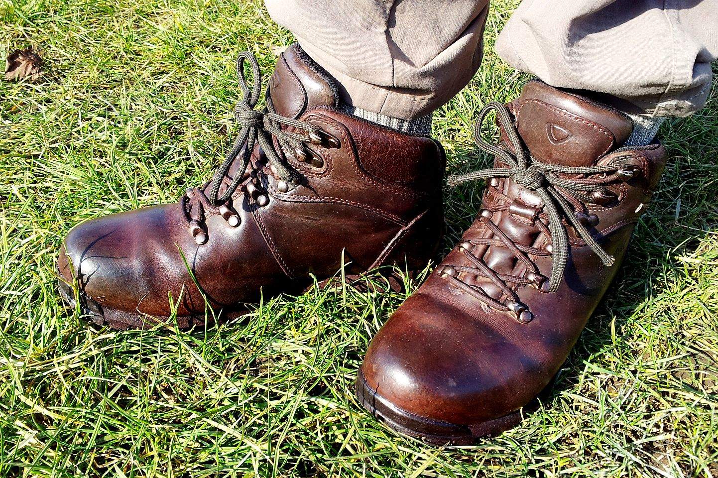 Gleaming boots, bright morning.