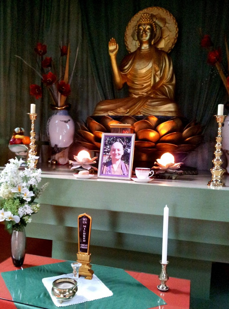 Memorial Altar for the late Rev. Mildred, Throssel Hole Buddhist Abbey.