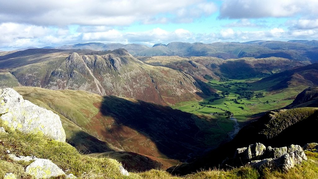 From Crinkle Crag looking into the Langdale Valley